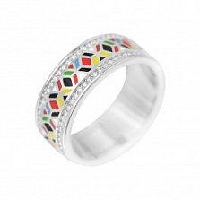 Серебряное кольцо Парад красок с цветной эмалью и белыми фианитами