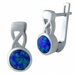 Серебряные серьги Фабиана с синим опалом