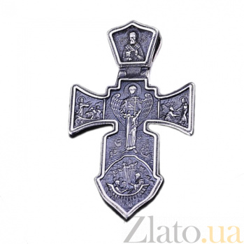 Серебряный крест с чернением Оберег ONX--13582