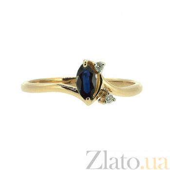 Золотое кольцо с бриллиантами и сапфиром Юнайк ZMX--RDS-5572_K