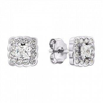 Серебряные серьги-пуссеты с фианитами 000132737