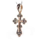 Серебряный крест с позолотой и чёрной эмалью Высшая сила