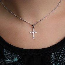 Золотой крестик в белом цвете с бриллиантами Вера