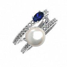 Серебряное кольцо Дора с синтезированным сапфиром, жемчугом и фианитами