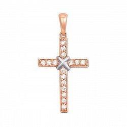 Декоративный золотой крестик в комбинированном цвете с бриллиантами 000135158
