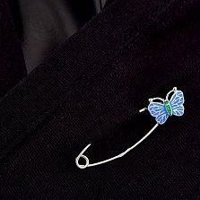 Серебряная булавка Милая бабочка с голубой эмалью