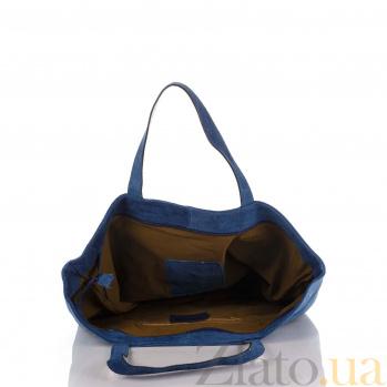 Замшевая сумка на каждый день Genuine Leather 8003 синего цвета на молнии с пайетками 000092655