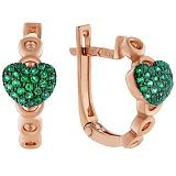 Золотые серьги Монами с зелеными фианитами
