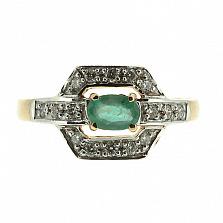 Золотое кольцо с изумрудом и бриллиантами Королева грез