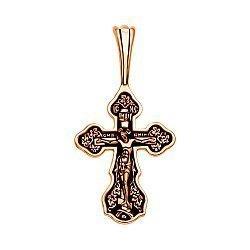 Крестик из красного золота с чернением 000134240