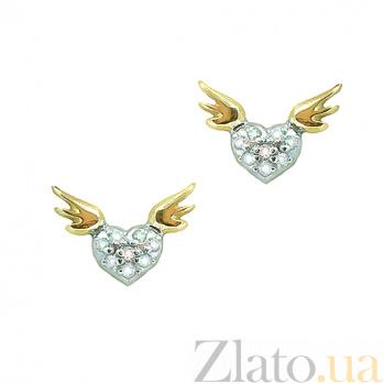 Золотые серьги с бриллиантами Сердце ангела ZMX--ED-00260_K