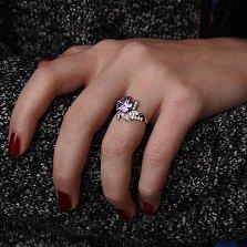 Серебряное кольцо Звездный цветок с фианитами разного цвета