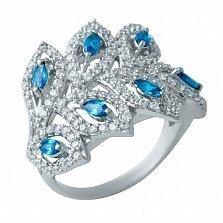 Серебряное кольцо Листья под снегом с лондон топазами и фианитами