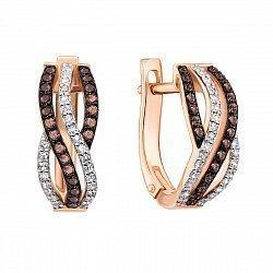 Серьги из красного золота с коньячными и белыми бриллиантами 000135334