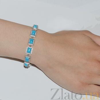 Серебряный браслет с бирюзой и фианитами Оушэн 43087