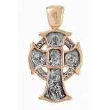 Золотой крест с чернением Благословение