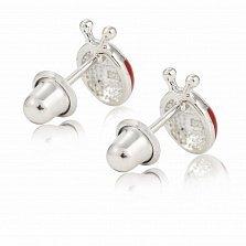 Детские серебряные серьги-пуссеты Божья коровка с красной и черной эмалью, 7х9мм