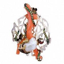 Жемчужное колье-трансформер с кораллом, гранатами, хризолитами и цветными сапфирами Морское дно