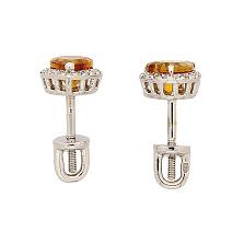 Серьги-пуссеты с цитринами и бриллиантами Сердечки