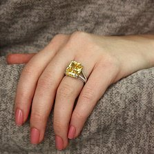 Серебряное кольцо Монументальность с цитриновым и белым цирконием
