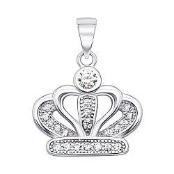 Серебряная подвеска-корона с фианитами 000138678