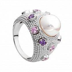 Серебряное кольцо с жемчугом и разноцветным цирконием Ирма