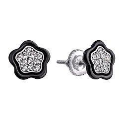 Серебряные серьги с черной керамикой и фианитами 000035333