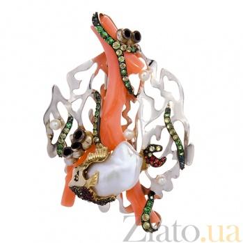 Жемчужное колье-трансформер с кораллом, гранатами, хризолитами и цветными сапфирами Морское дно 000027231