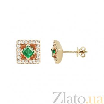 Золотые серьги с изумрудами и бриллиантами Лана 1С037-0030