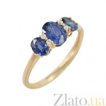 Золотое кольцо с сапфирами и бриллиантами Селения 000026865