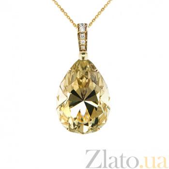 Золотое колье с цитрином и бриллиантами Пламя страсти 000029697