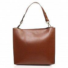 Кожаная деловая сумка Genuine Leather 8910-2 коричневого цвета на молнии, с металлическими ножками