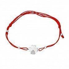 Красный шелковый браслет Удача в белом золоте с фианитами