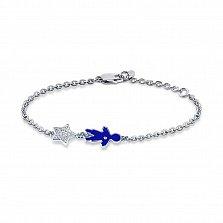 Серебряный браслет Малыш с синей эмалью, родием и фианитами