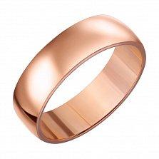Золотое обручальное кольцо Классика стиля в красном цвете