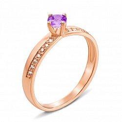 Кольцо из красного золота с аметистом и фианитами 000136402