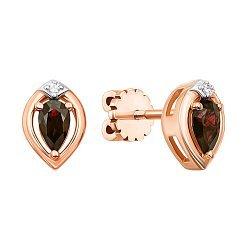 Золотые серьги-пуссеты в комбинированном цвете с рубинами и бриллиантам 000131472