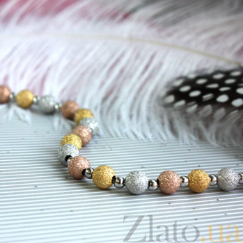 Серебряный браслет Шарики 3 цвета родированый LEL--59004