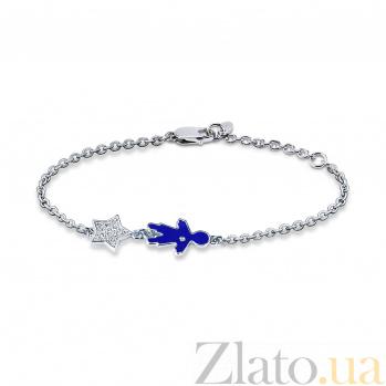 Серебряный браслет Малыш с синей эмалью, родием и фианитами 000098392