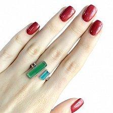 Серебряное кольцо Тропиканка с зеленым и голубым кошачьим глазом