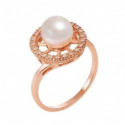 Кольцо из красного золота с жемчугом и фианитами 000133147