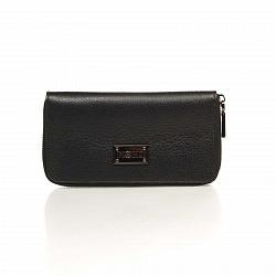 Кожаный кошелек Genuine Leather 1640 черного цвета на молнии с заклепками