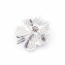 Серебряная брошь Изысканный цветок с жемчугом и фианитами