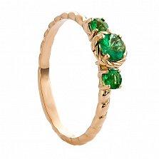 Золотое кольцо с изумрудами Илона