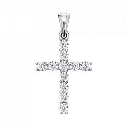 Декоративный крестик из белого золота с цирконием 000123463