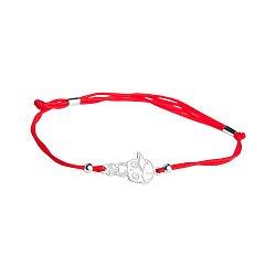 Шелковый браслет в красном цвете Малыш со вставкой фигурки мальчика из серебра