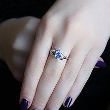 Серебряное кольцо Унисон с кварцем цвета танзанит и фианитами