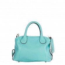 Кожаная сумка на каждый день Genuine Leather 8962 голубого цвета на молнии, с декоративной кистью
