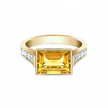Золотое кольцо с цитрином и бриллиантами Рандеву
