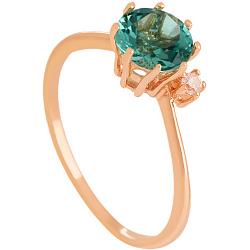 Золотое кольцо Валери с синтезированным аметистом и цирконием 000024457